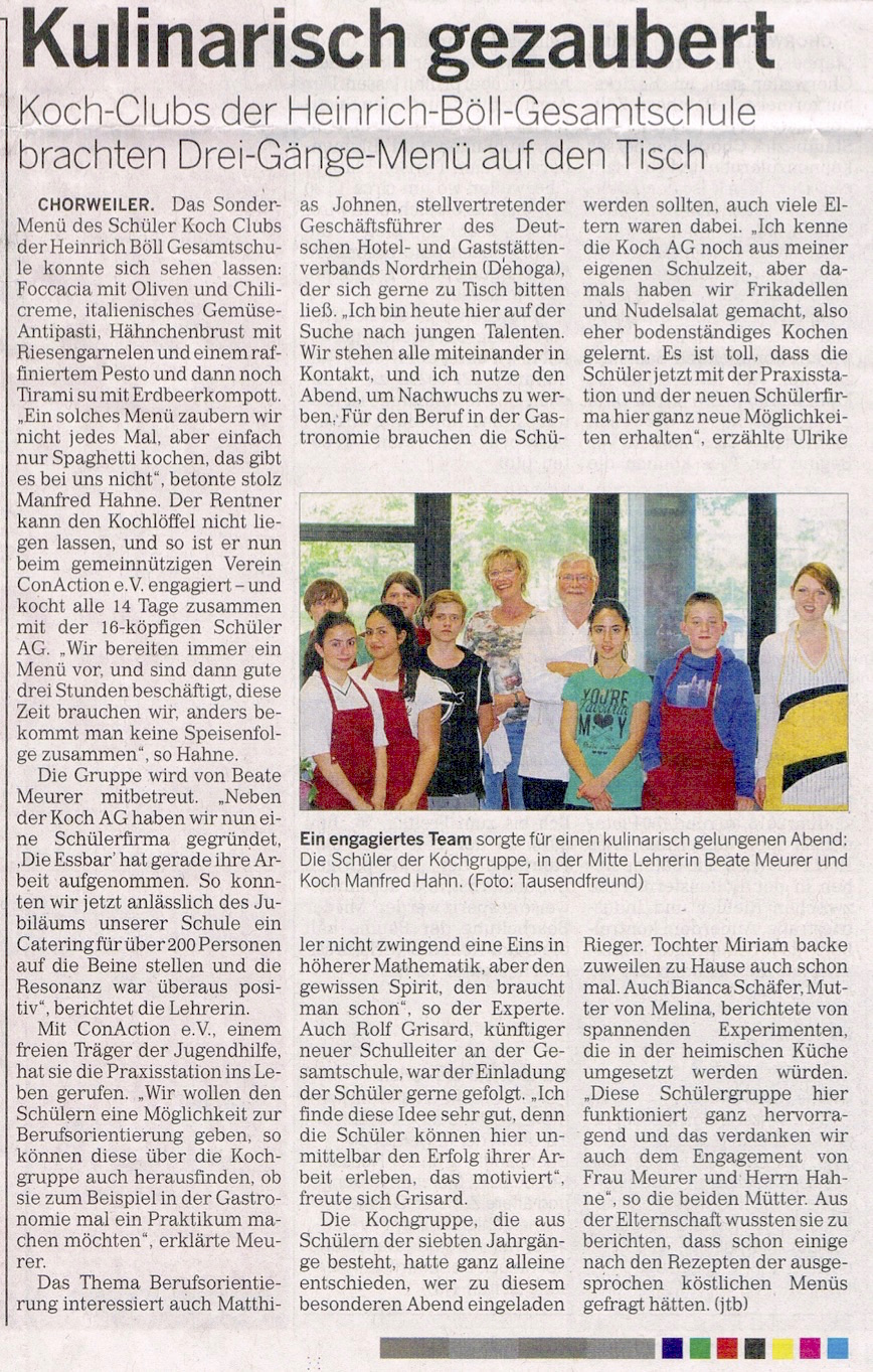 Zeitungsartikel Rundschau 16.6.2015 Schülerfirma